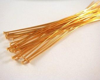 25 Gold Headpins 4 inch (10.1cm) Plated Brass, 21 Gauge - 25 pc - F4001HP-G425