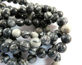 16in Natural Black Silk Beads 6mm Round Semiprecious Stone C Grade - 67 pc - 6318