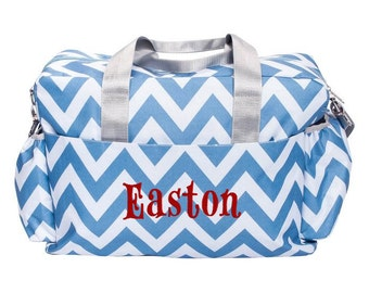 Personalized Diaper Bag Blue Chevron, Monogrammed Baby Tote, Boy