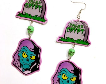 Tales from the Crypt Cartoon Dangle Earrings Pastel Crypt Keeper