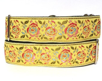 "GreytEscape's BUTTERCUP 14-18"" yellow floral roses martingale dog collar 1.5"" wide"