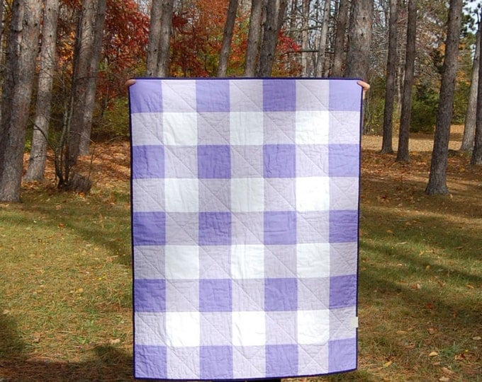 CLEARANCE Iris Gingham Crib Quilt, Ready to Ship