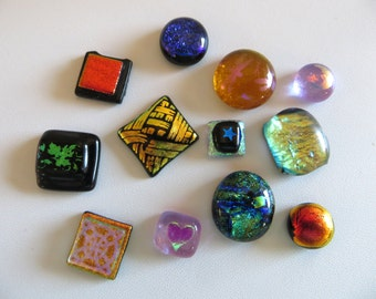 Dichroic Glass Cabochons-Twelve Assorted Glass Cabochons