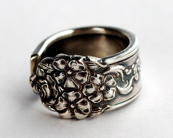Spoon Ring, size 8.5, Vintage King Edward Silver Plate, Moss Rose Pattern, 1949, Repurposed silverware Jewelry by Hendywood RE12