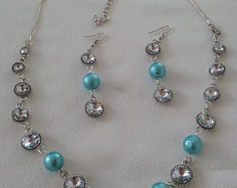 SALE Silver Blue and Rhinestone Long Beaded Necklace and Complimentary Earrings.