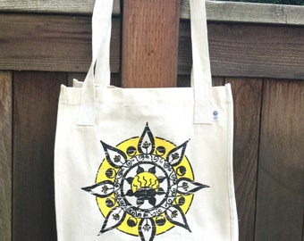 INTRODUCTORY PRICING Positivity Mandala ROOMY Organic Cotton Tote Hand Drawn Mandala Great for Yoga Lovers, Artists, Photographers, Students
