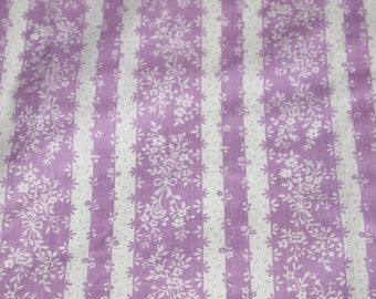 vintage 70s cotton fabric, featuring lovely lavender and white floral stripe print, 1 yard, 25 inches