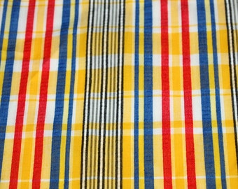 SALE vintage 70s cotton plisse fabric featuring great plaid and stripe print, 1 yard, 2 available priced PER YARD