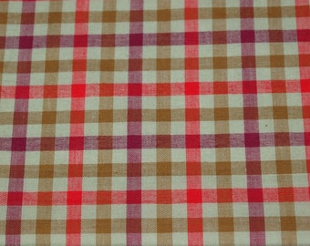 vintage 50s cotton gingham fabric in greens, red and burgundy, 1 yard