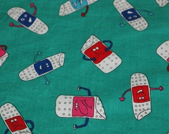 SALE early 2000s novelty fabric featuring funny anthropomorphic print, extra wide, 1 yard, 2 available, priced PER YARD