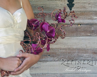 Copper, Crystal and Orchid Wire Wedding Bouquet. DISCONTINUING.