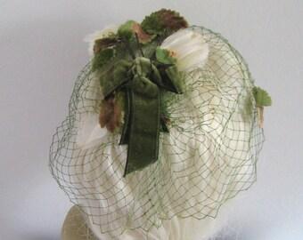 Green Velvet Topper . velvet topper with veil .  Veiled Velvet Flower Fascinator . green velvet fascinator