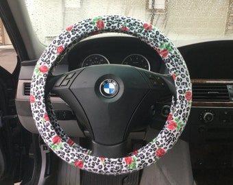 Grey Animal Print with Roses Steering Wheel Cover