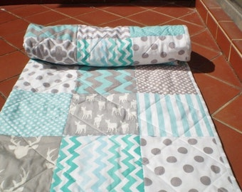 Handmade Baby Quilt, Grey Teal Aqua Crib Quilt,Baby Boy Bedding, Baby Girl Quilt,Woodland,Rustic,Chevron,Deer,Fawn,Stag,toddler,Fawn In Teal