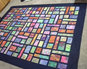 Batik Stained Glass Quilt Twin Size