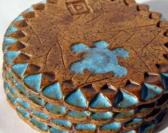 Coasters, Handmade Drink Coaster, Pottery coasters, Coaster set, Stoneware Coaster, Drinkware, Ceramic coasters, Barware, Turtle coaster