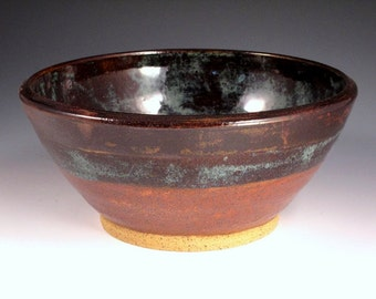 Pottery Large Bowl in Brown and Blue