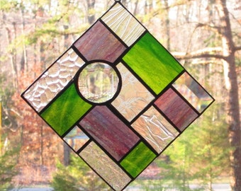 Stained Glass Suncatcher - Abstract Olive Green Streaky & Purple Blue Streaky, with Clear Textured Glass with Bevels