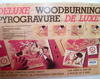 Vintage Woodburning Deluxe Pyrogravure Design-a-matic  Wood Burning Craft Kit