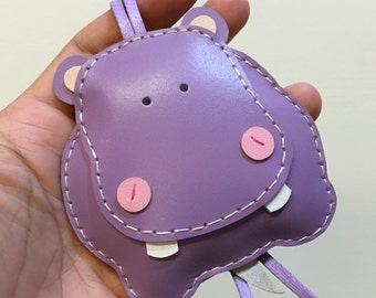 Big size - Hugo the Hippo cowhide leather charm ( Purple )