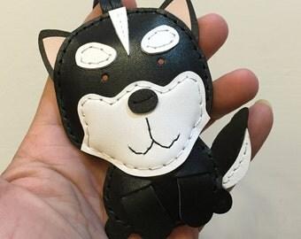 Big size - Etana the Husky cowhide leather charm ( Black )