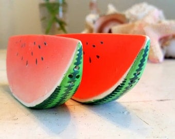 Salt and Pepper Shakers Vintage Watermelon Made in Japan