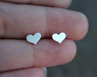 Sterling silver heart earrings - heart studs - minimalist earrings - modern jewelry