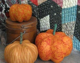 pumpkins, fabric pumpkins, Fall, Autumn decor, wedding centerpiece - scrolls and gold - set of 3 p U m P k I nS with 1 set of bling - 102