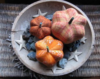 fabric pumpkins, pumpkins, Fall, Autumn decor, wedding centerpiece - flannel and fun - set of 3 p U m P k I nS with 1 set of bling -109