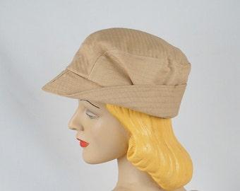 Vintage 1950s Hat Unisex Tan Bucket Style Sporting Cap NOS Sz 6 7/8