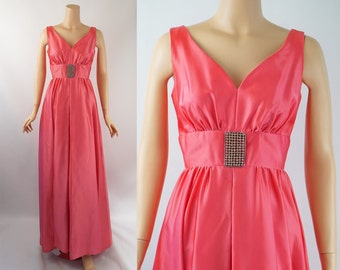 1960s Evening Gown Hot Pink Satin Formal by Mike Benet Sz 11 B36 W26