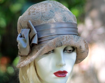 20's Cloche Hat, Downton Abbey Style Taupe Beige Tapestry Floral Print Fabric