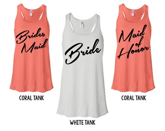 RETRO BRIDAL PARTY Tank. Bridesmaid, Maid of Honor Tank. Bachelorette Party Shirt, Tank. Bride Tank. Bride Top. Bride Shirt. Coral. 122FL