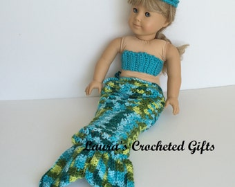 Doll Costume, Mermaid Princess Costume, Handmade Crochet Doll Clothes, Blue and Green Mermaid Costumefor 18 inch Doll, Mermaid Tail for Doll