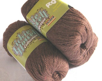 Dark Chocolate Brown wool blend yarn, SWTC ROCK yarn, Thom,  light worsted weight, coffee