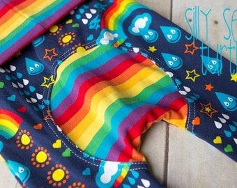 Maxaloones, rainbowphant by Lillestoff cloth diaper pants, grow with me pants, babywearing pants, organic baby, baby leggings, monsterbunz