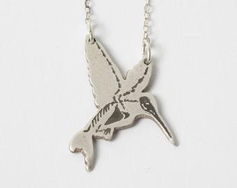 Hummingbird Necklace - Silver Bird Necklace - Hummingbird Skeleton - Skeleton Necklace - Bird Jewelry