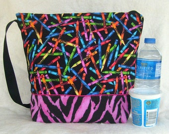 Insulated Lunch Bag in Back to school Crayons Print