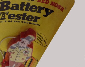70s Vintage W.C. Fields Red Nose Battery Tester New Old Stock