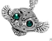 Steampunk Owl Necklace, Silver Owl Necklace, Assemblage Necklace, Industrial Jewelry, Luxury Gift, Retro Jewelry, Vintage Watch, Mini Owl