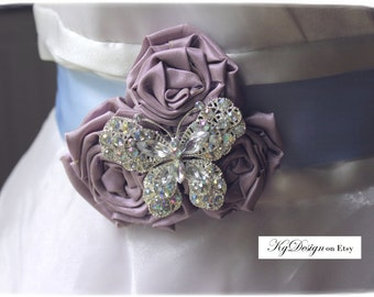 Butterfly rhinestone blue, lavender three flower handrolled, sash or  brooch by KgDesign