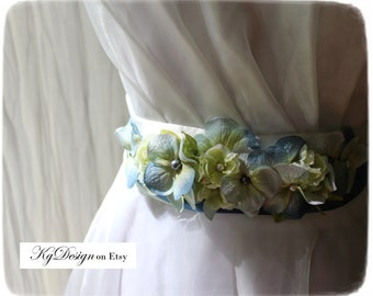 Blue Blushing Bride floral sash accent in hydrangea and glass bead by KgDesign