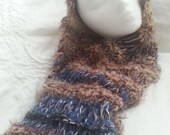 Blue brown hand made soft infinity scarf cowl neck warmer