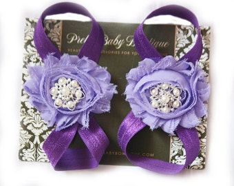 Girl Barefoot Sandals- Photo Prop- Baby Shoes- Baby Girl Sandals- Barefoot Sandals Purple and Lavender