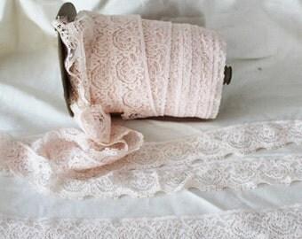 Vintage  Peach cotton lace