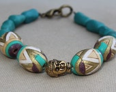 Buddha Bracelet with Painted Wood and Howlite