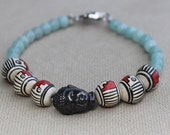 Buddha Bracelet with Painted Wood and Amazonite