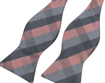Mens Self Tie Bow Ties. Rose Coral Gray Plaid Checkers Free Style Bowtie With Matching Pocket Square Option