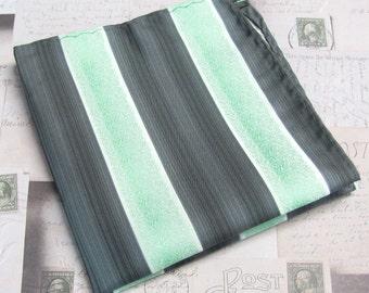 Pocket Square Mint Green Charcoal Gray Stripes Hanky