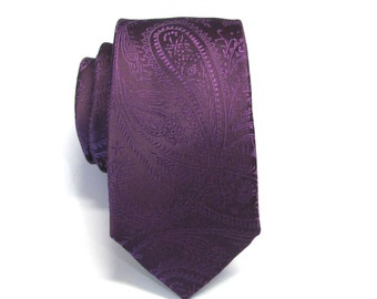 Mens Tie. Eggplant Purple Paisley Skinny Necktie With Matching Pocket Square Option